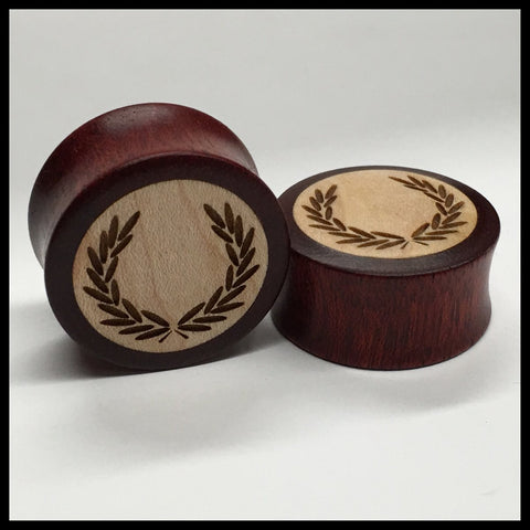Ebony Bloodwood Heart Solid Round Plug