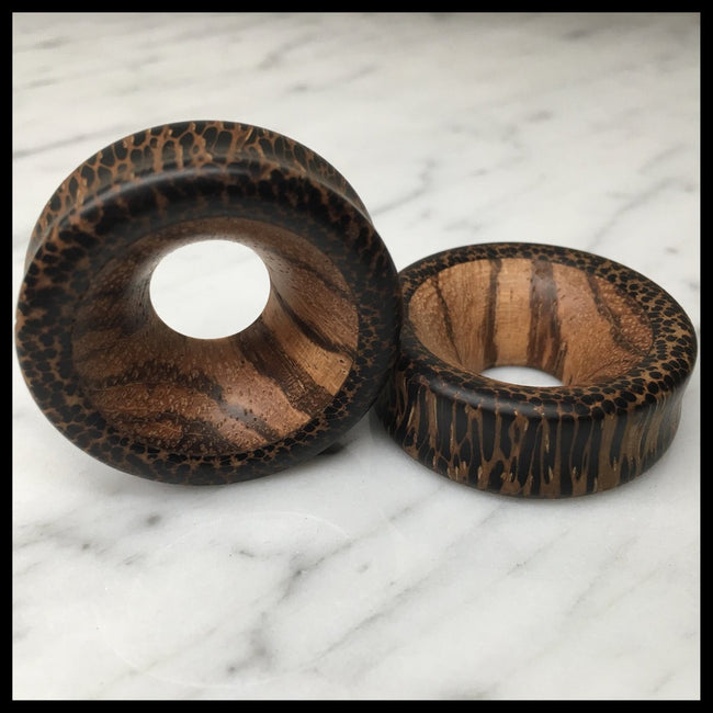 Black Palm Zebrawood Thick Tunnels Round Plugs