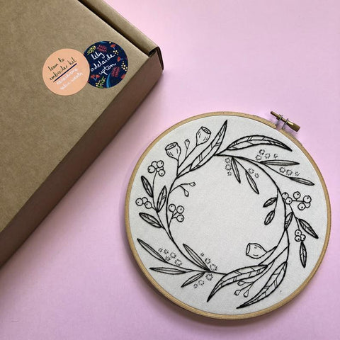 Embroidery Kit - Monochrome Native Wreath
