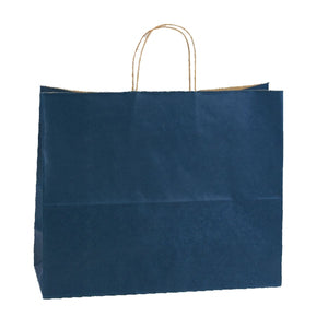 "Shadow Stripe Shoppers - Navy Blue - 16"" x 6"" x 13"""