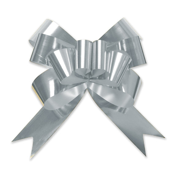 Glitter Pull Bow - Butterfly - Silver - 3 Sizes