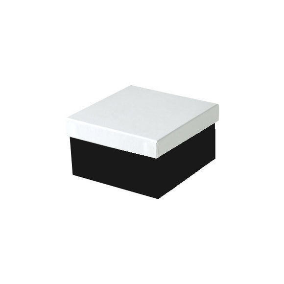 Cotton Filled Jewelry Boxes - Black & White - 3-1/2