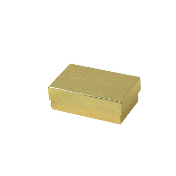 Cotton Filled Jewelry Boxes - Gold Linen - 2-1/2