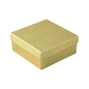 "Cotton Filled Jewelry Boxes - Gold Linen - 3-1/2"" x 3-1/2"" x 1-1/2"""