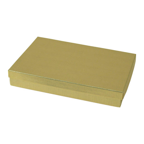 Cotton Filled Jewelry Boxes - Gold Linen - 8