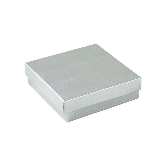 Cotton Filled Jewelry Boxes - Silver Linen - 3-1/2