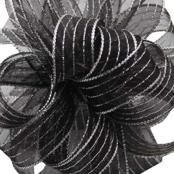 Chiffon Striped Ribbon - Black w/ Silver