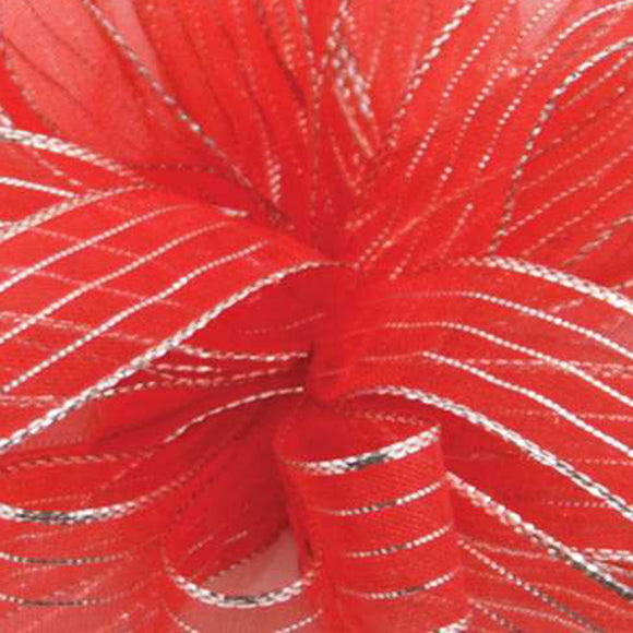 Chiffon Striped Ribbon - Red w/ Silver