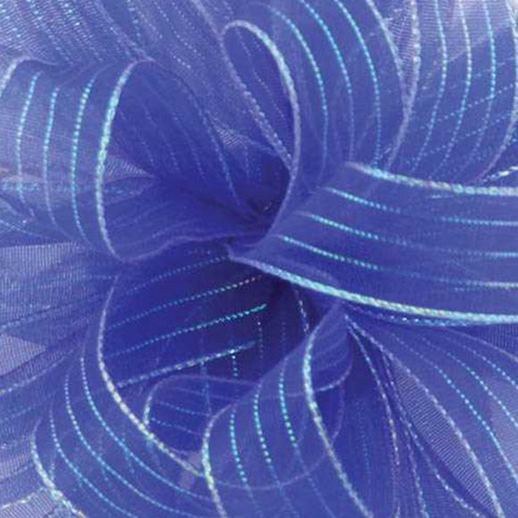 Chiffon Striped Ribbon - Royal Blue