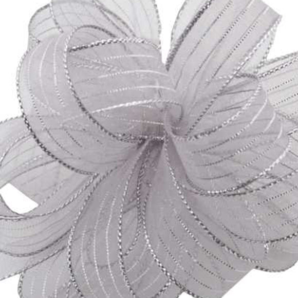 Chiffon Striped Ribbon - Silver