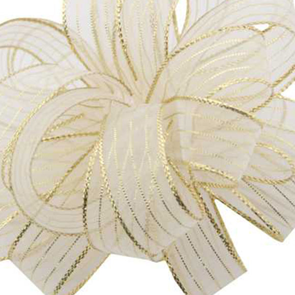 Chiffon Striped Ribbon - White w/ Gold