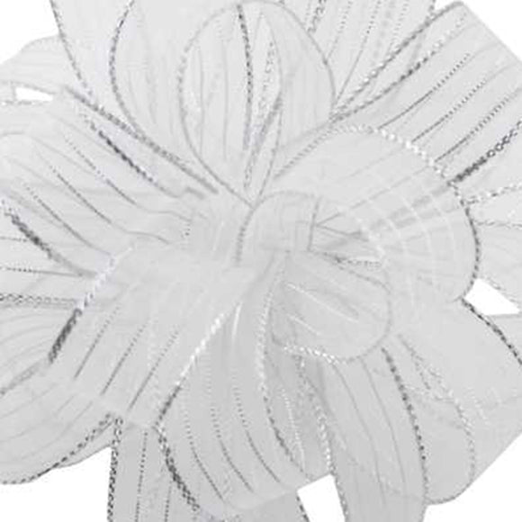 Chiffon Striped Ribbon - White w/ Silver
