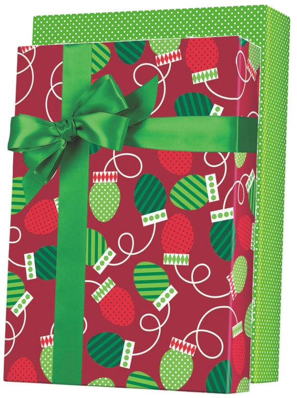 Christmas Bulbs Reversible Gift Wrap