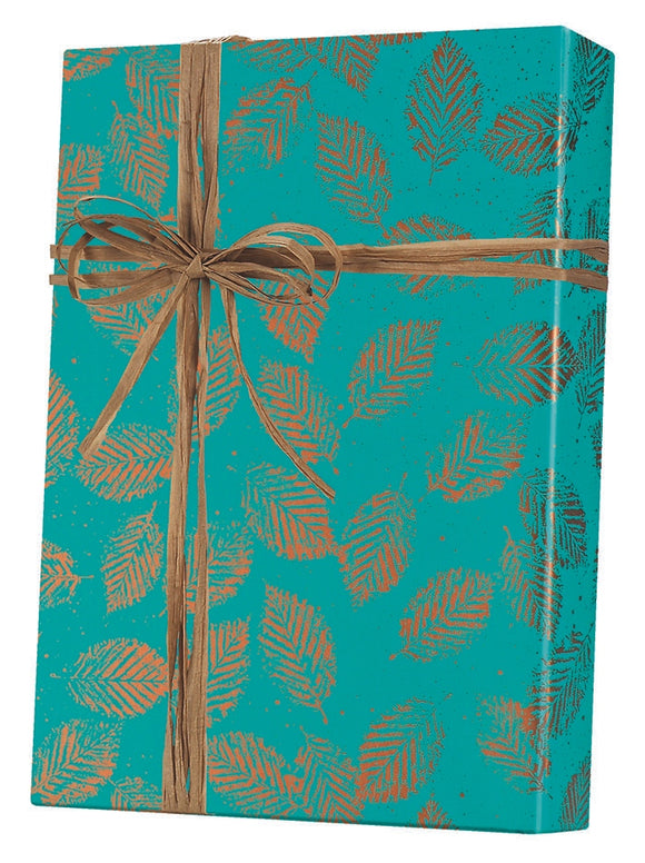 Copper Leaves Gift Wrap