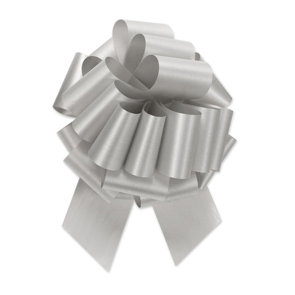 Flora Satin Perfect Bow - Silver - 2 Sizes