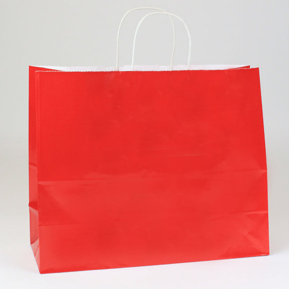 Fire Engine Red Gloss Shopping Bags