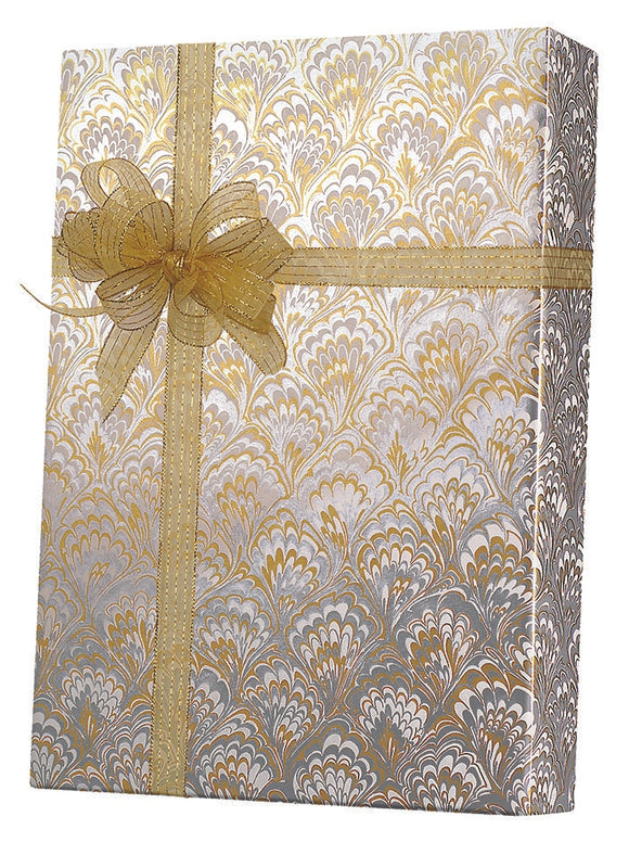 Gold & Silver Feathers Gift Wrap