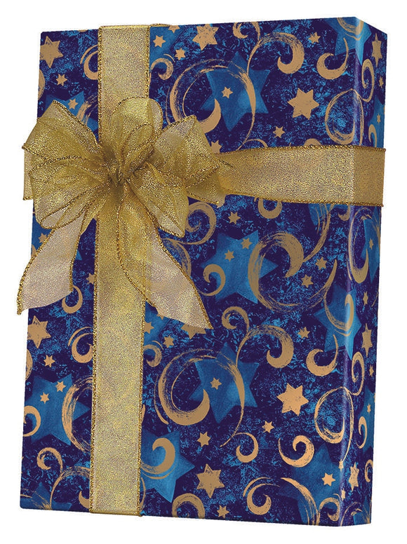 Gold Star Chanukah Gift Wrap
