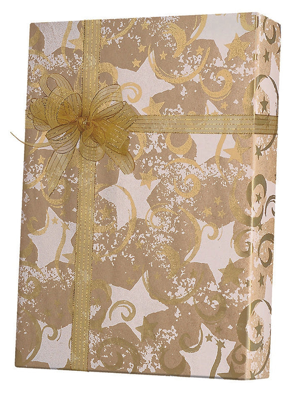 Gold Stars & Swirls Gift Wrap