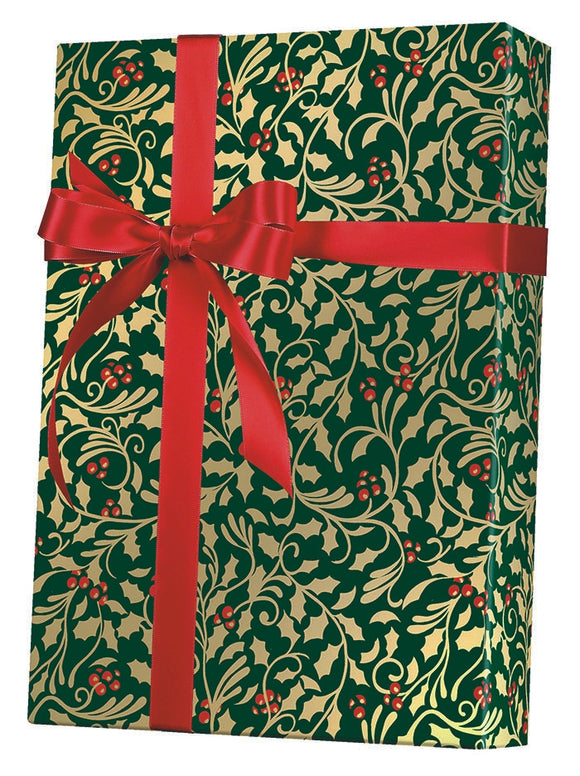 Golden Holly Gift Wrap
