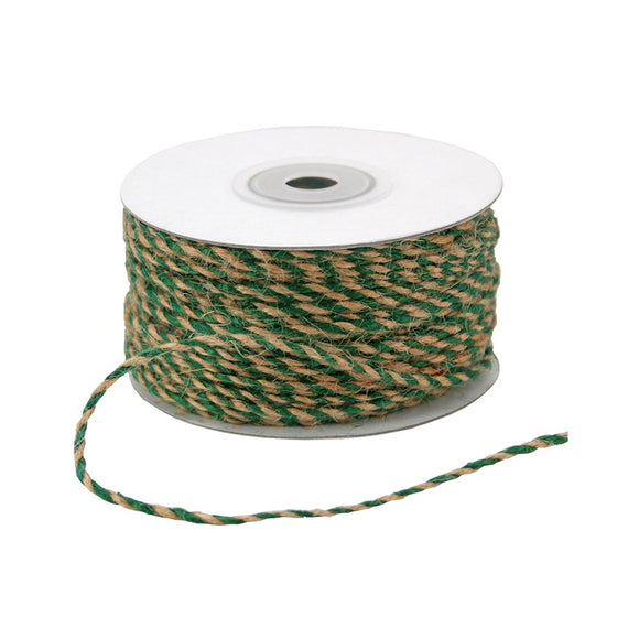 Jute Cord - Twisted 2 Color - Green & Kraft