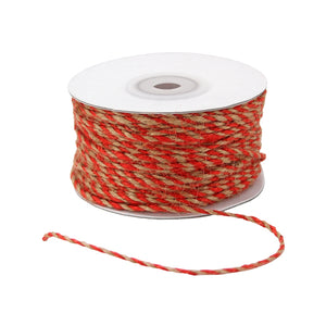 Jute Cord - Twisted 2 Color - Red & Kraft