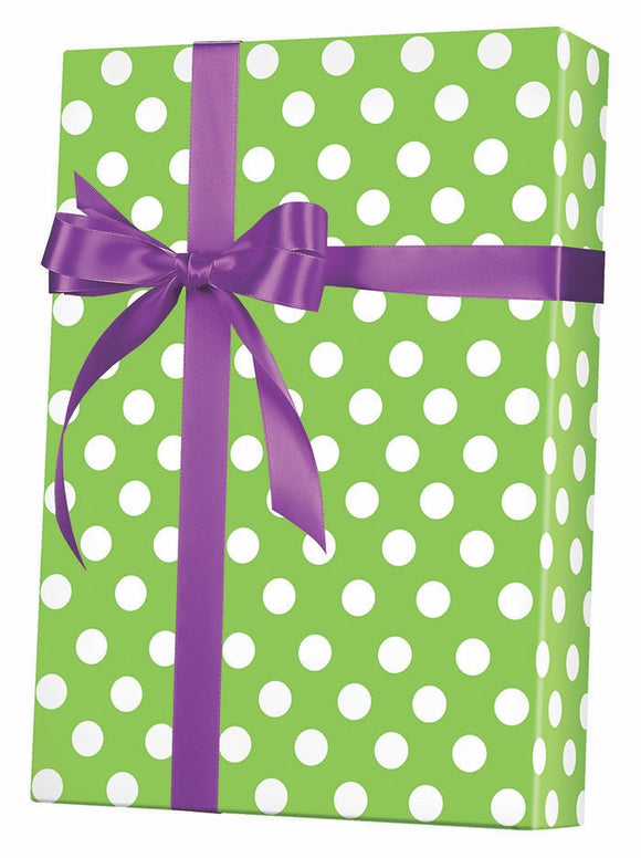 Lime Sunny Dots Gift Wrap