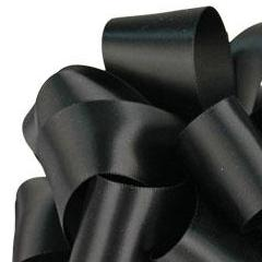 Double Face Satin Ribbon - Black - 3 Sizes