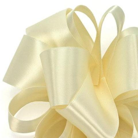 Double Face Satin Ribbon - Ivory - 3 Sizes