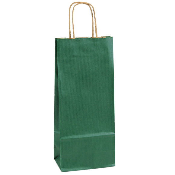 Forest Green Kraft Wine Shopping Bags