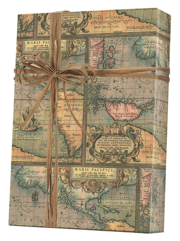 World Map Kraft Gift Wrap