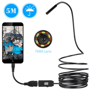 USB Endoscope Camera Waterproof inspection with 6 LED - For Android Phones and Computer System - BravMART