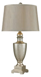 One Light Antique Mercury Glass With Silver Beige Grey Linen Shade Ta - Style: 7278340