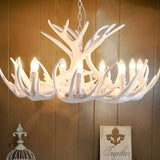White resin Dear Antler Chandelier Lighting