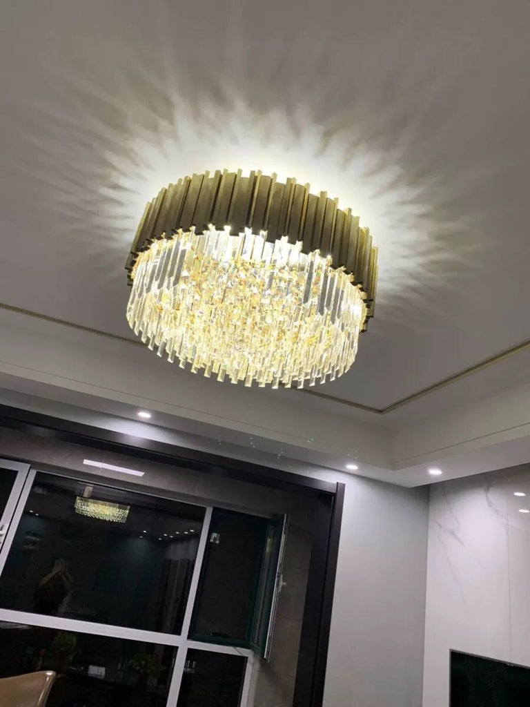 Luxury LED Postmodern Round Golden Crystal Chandelier