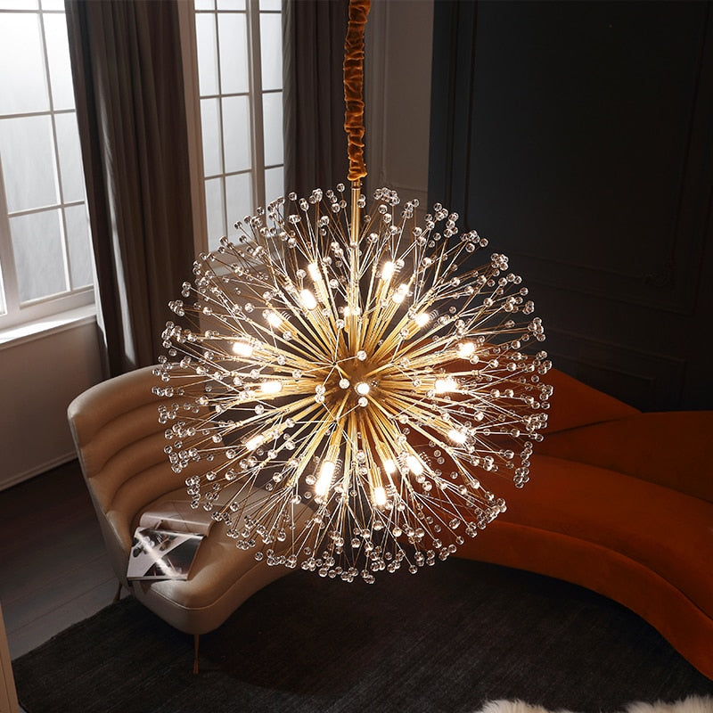 Modern Luxury Led Crystal Dandelion Chandelier Lighting
