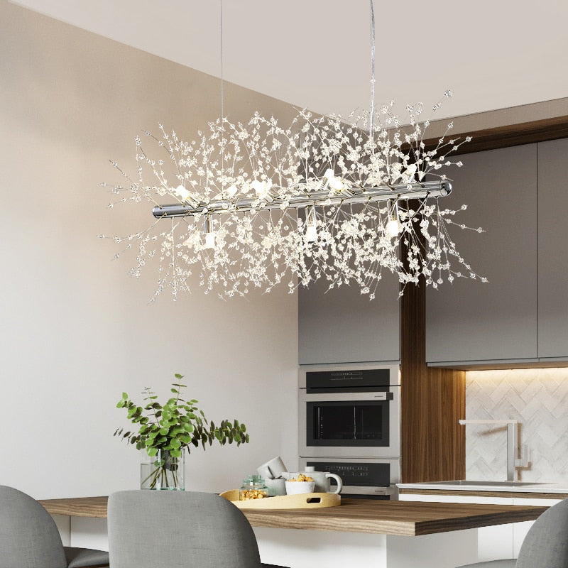 Modern Crystal Dandelion Chandelier Lighting Pendant Lamp