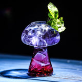 Creative Cocktail Glass Mushroom Shape Clear Glass Set of 4