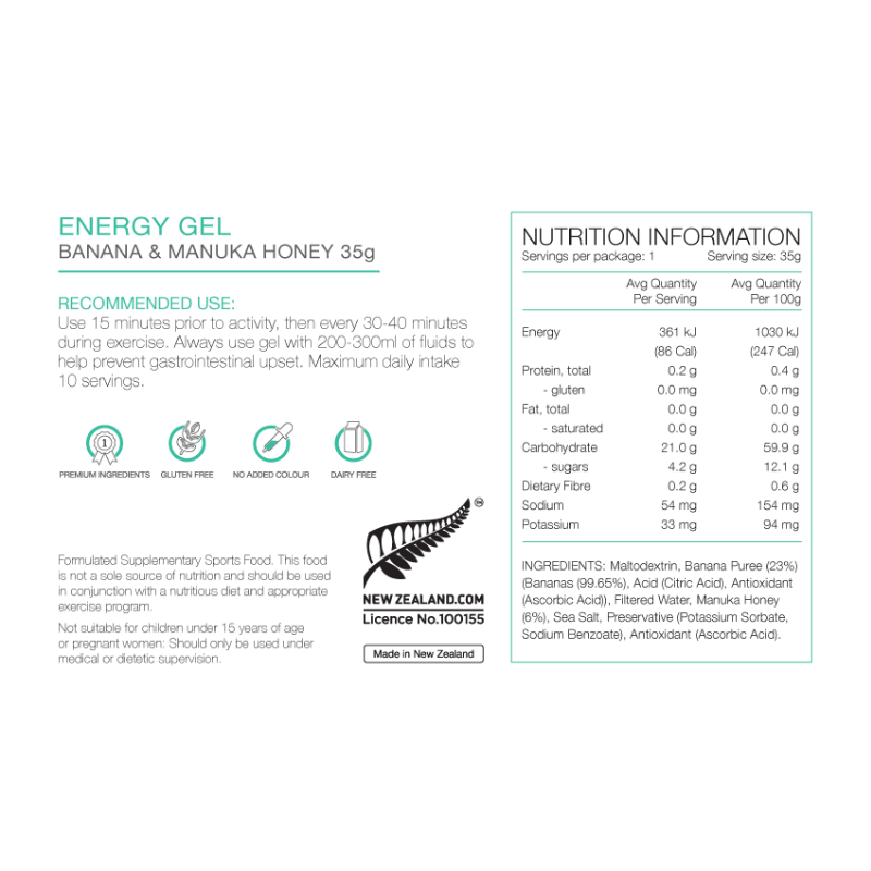 PURE Nutrition | 35g Energy Gel - Banana & Manuka Honey Nutrition Sheet
