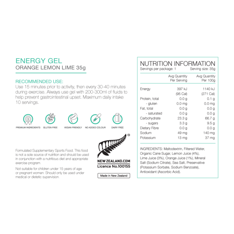 PURE Nutrition | 35g Energy Gel - Orange, Lemon & Lime Juice Nutrition Sheet