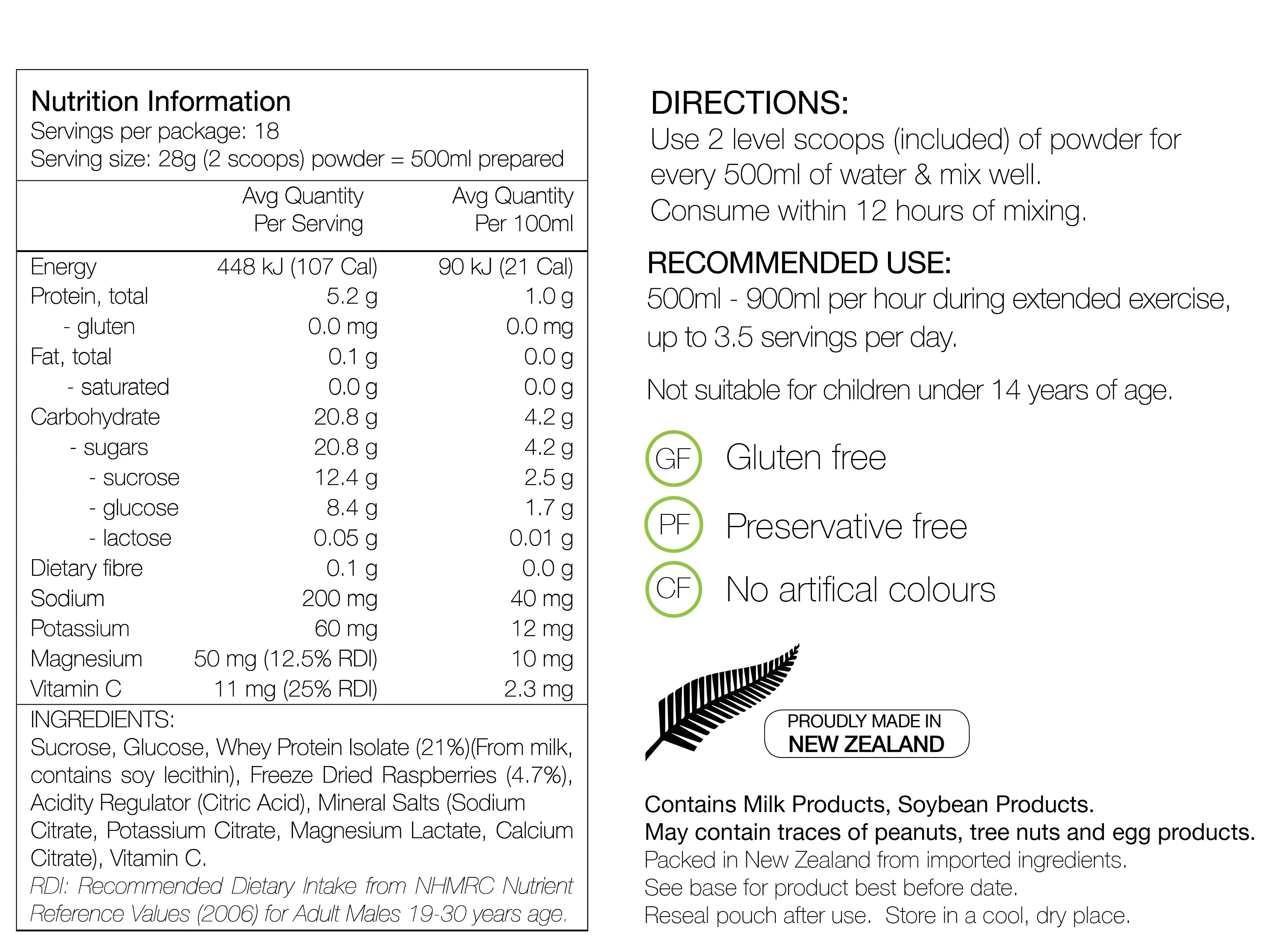 PURE NUTRITION | Endurance Formula Pouch 500g Nutrition Sheet