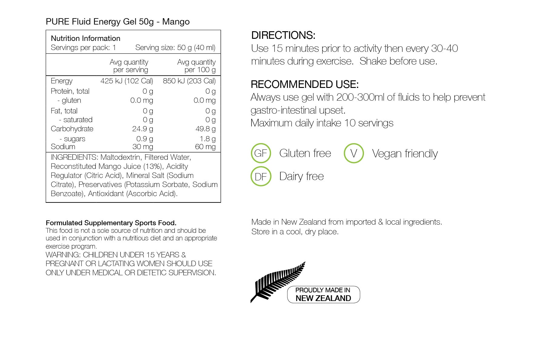PURE NUTRITION | Fluid Energy Gels 50g - Mango Juice Nutrition Sheet