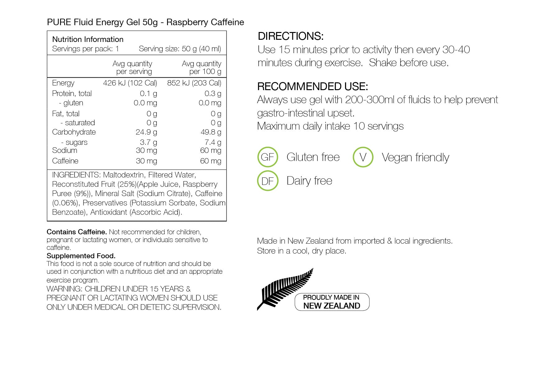 PURE NUTRITION | Fluid Energy Gels 50g - Raspberry Caffeine Nutrition Sheet
