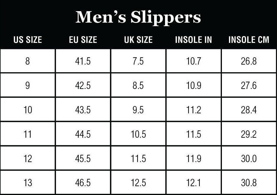 Staheekum Men's Slippers Size Charts