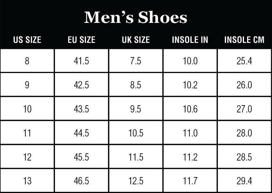 Staheekum Men's Shoes Size Charts