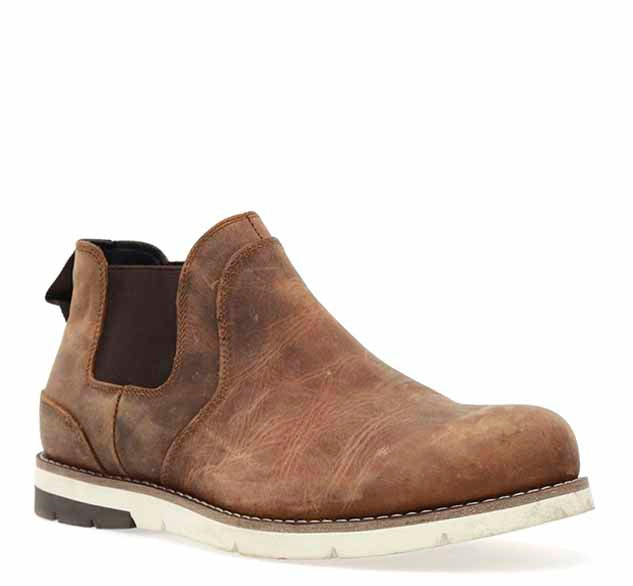Mens outdoor boots, ankle-height, in brown with elastic gore, pull tab, and rubber outsole.