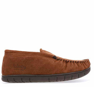 Outdoor slippers for men in wheat with stitch detailing, flannel lining, and brown outsole.
