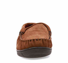Load image into Gallery viewer, Outdoor slippers for men in wheat with stitch detailing, flannel lining, and brown outsole.
