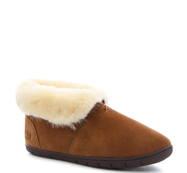 Mens slipper boots in wheat with fold over white cuff, Staheekum logo, and brown outsole.