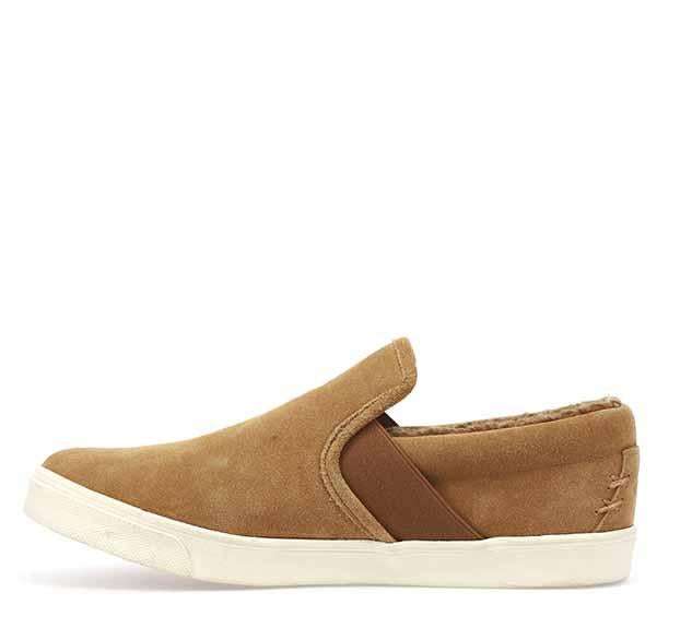 Mens sneaker slippers in wheat with white bottom trim and tan plush lining.